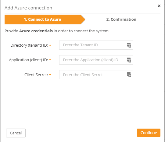 Providing your azure credentials for connecting