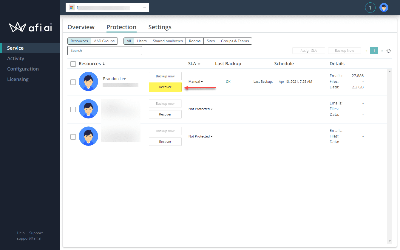 Recovering data from afi backups