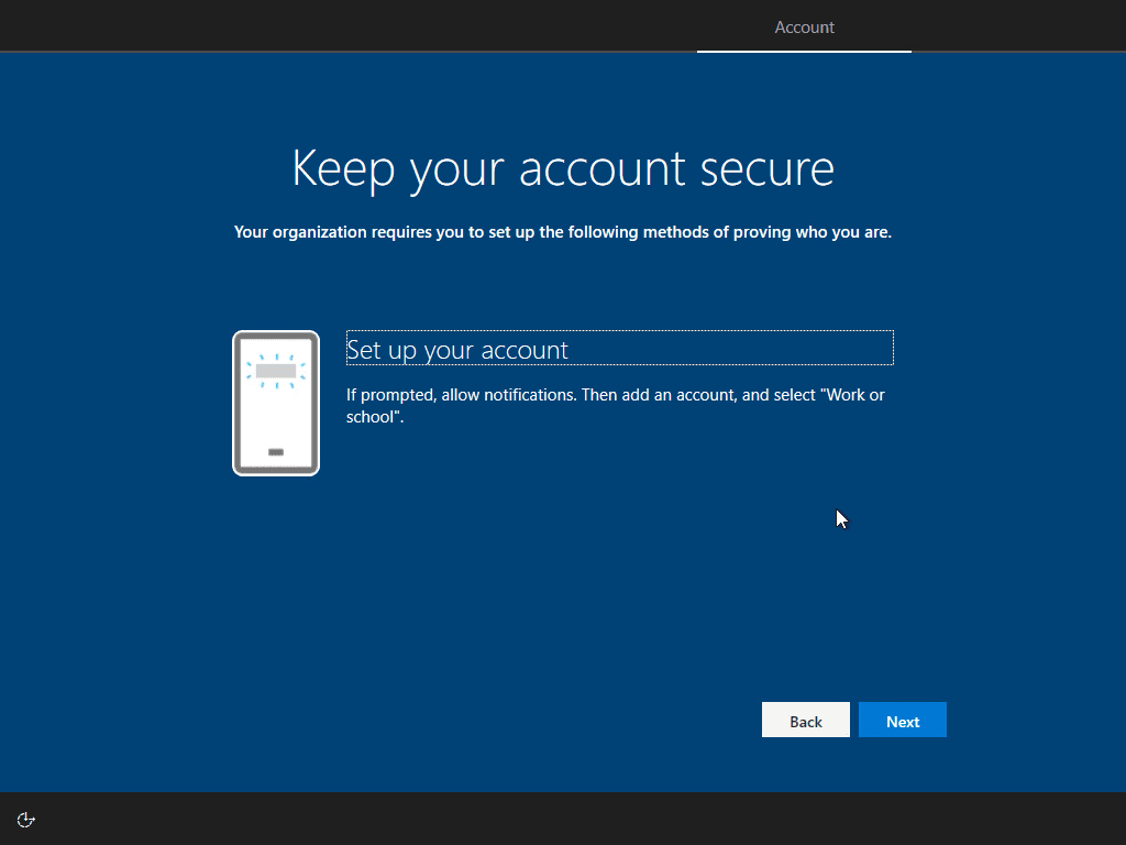 Setting up your account on your phone with the microsoft authenticator app