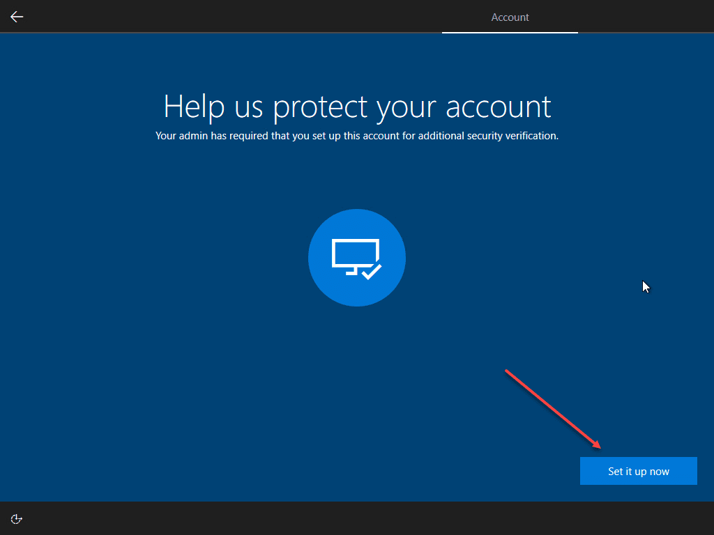 Setup additional account security verification