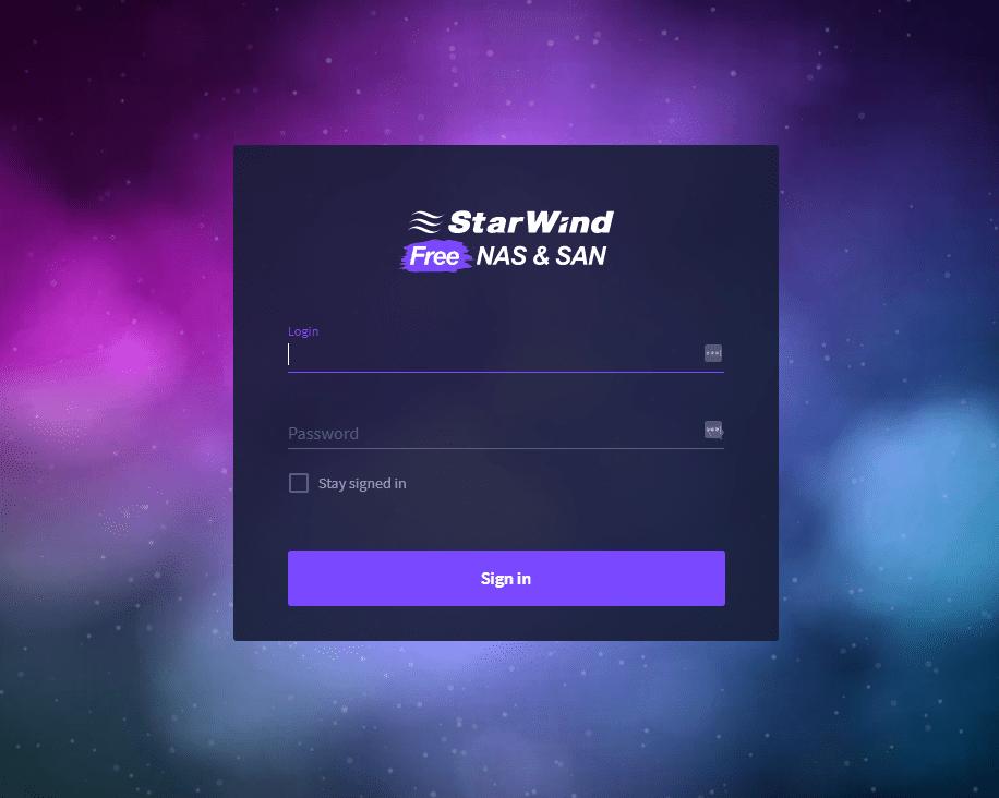 Starwind free nas san login screen