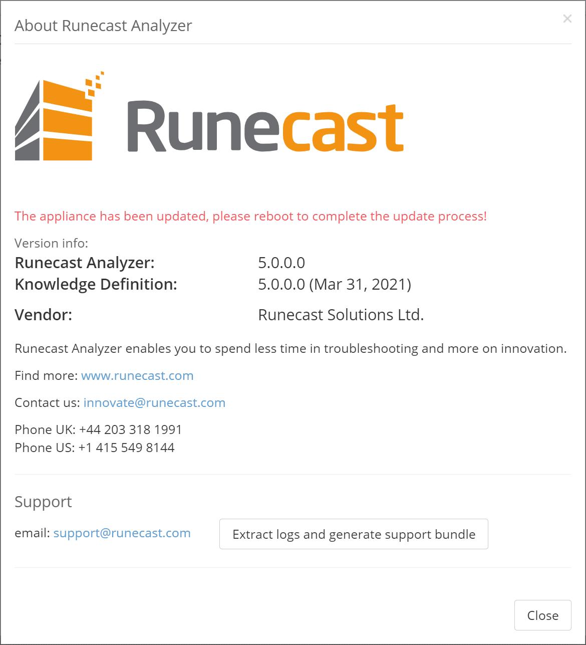 Upgrading to runecast analyzer 5.0