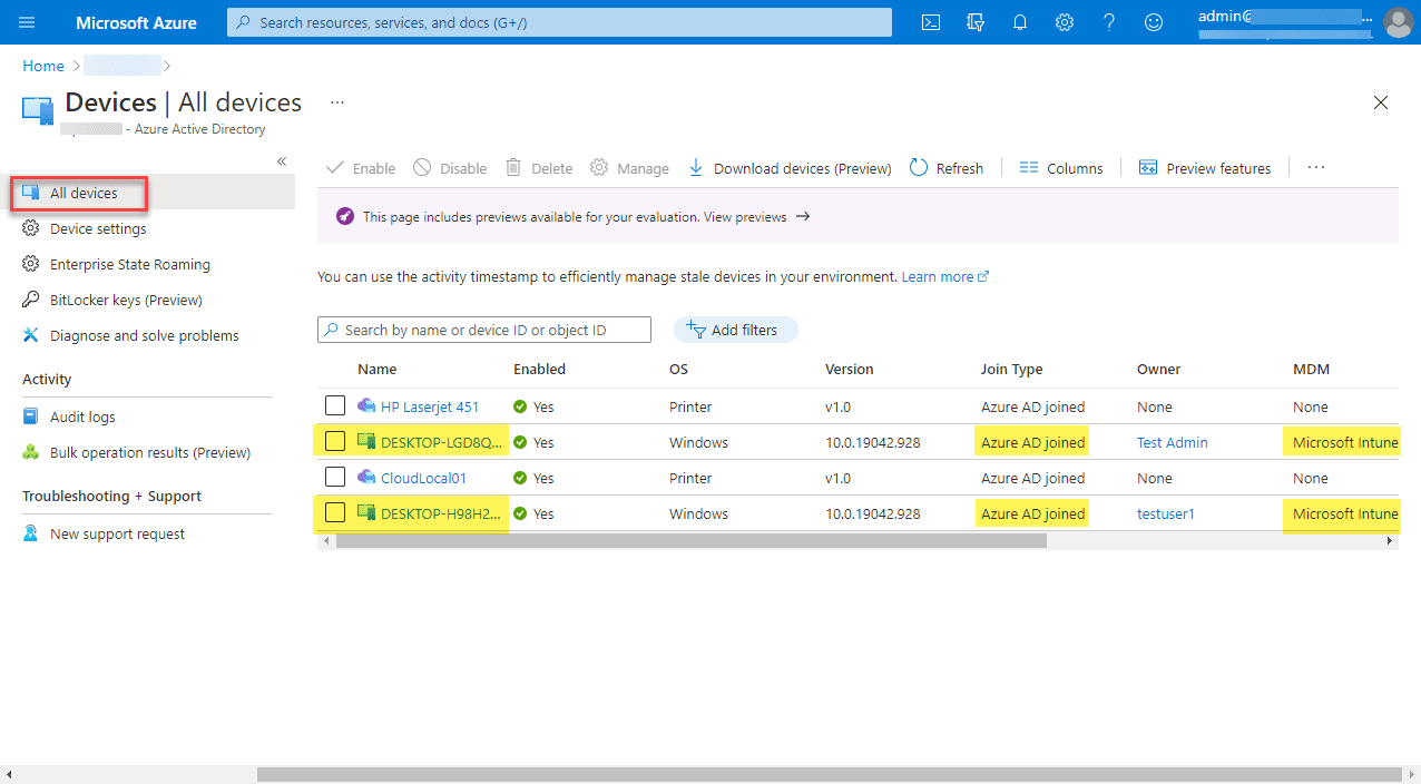 Viewing azure ad joined devices in azure active directory