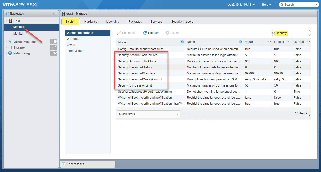 Vmware host client password security settings