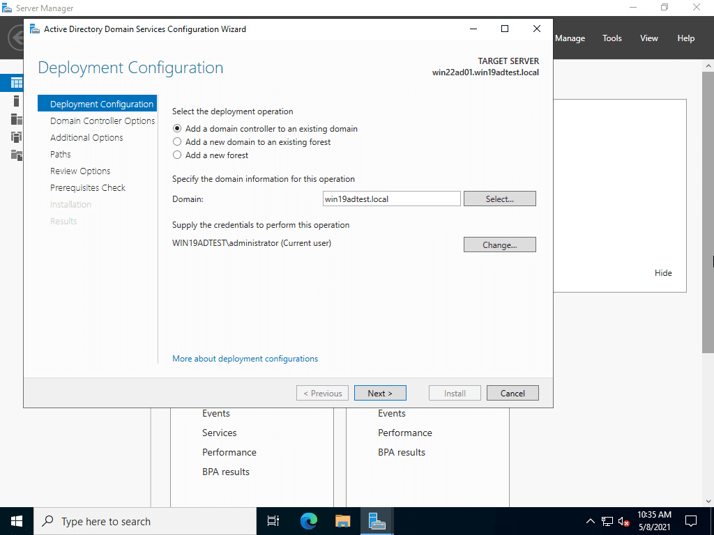 Add a windows server 2022 domain controller to an existing domain