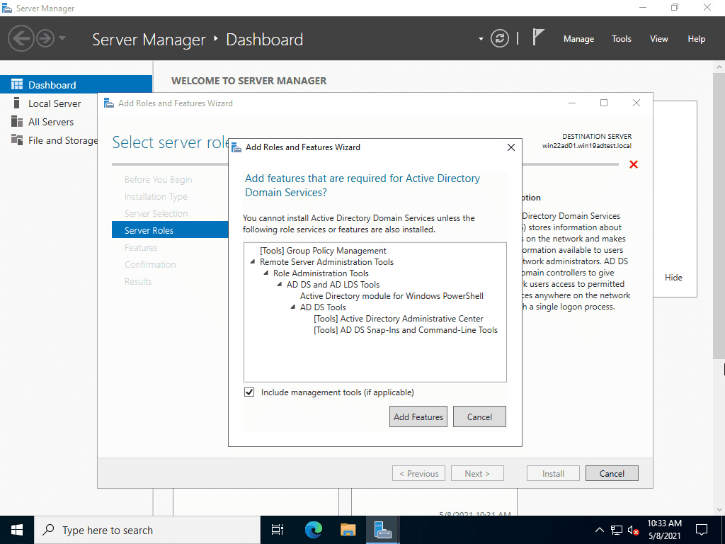 Adding the active directory domain services role in windows server 2022