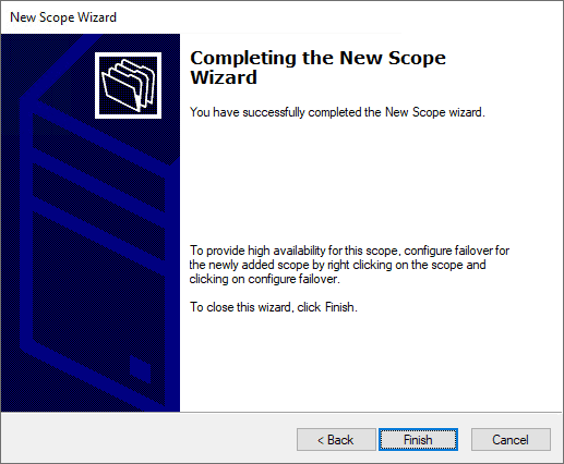 Completing the new dhcp scope wizard