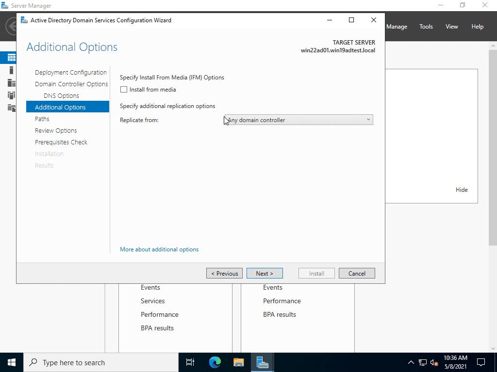 Configure install and replication options for promoting a windows server 2022 server