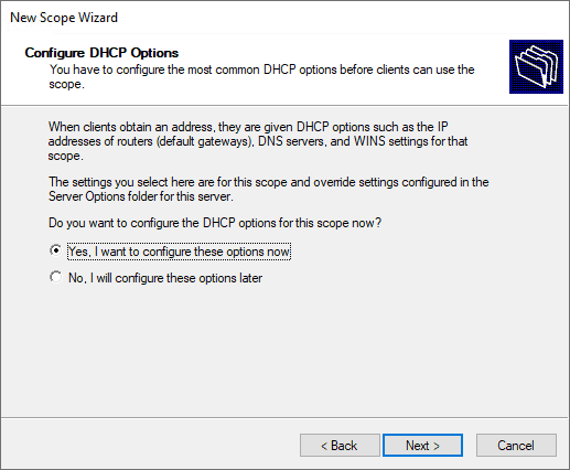 Configure the dhcp scope options