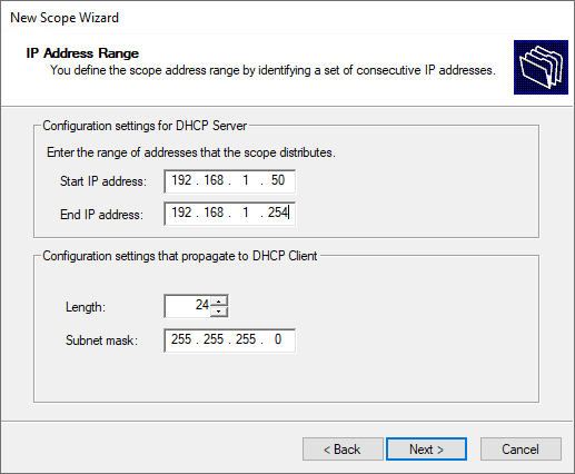 Configuring the ip address range of the windows server dhcp scope