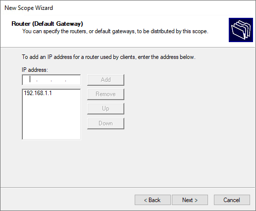 Configuring the router for the dhcp scope