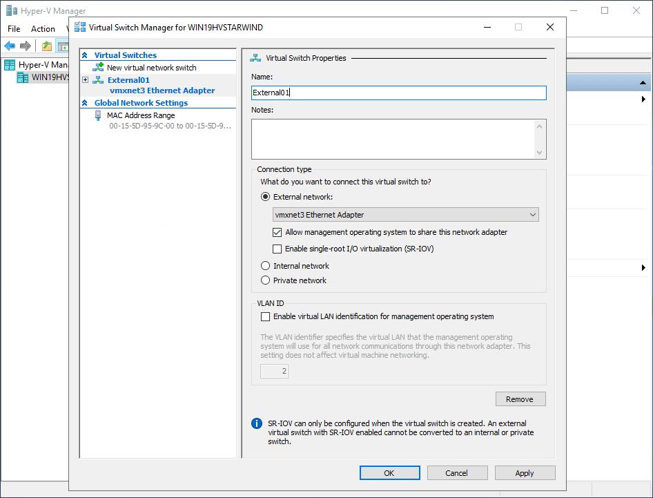 Create an external vswitch in hyper v