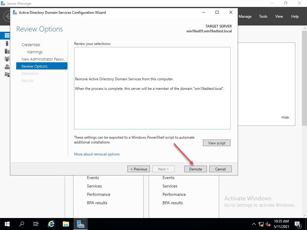 Demoting windows server 2019 domain controller