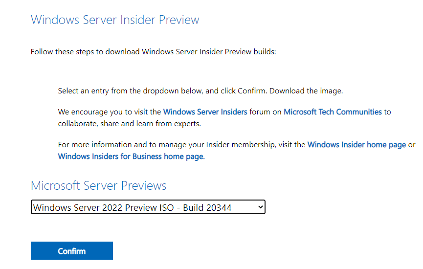 Downloading the latest windows server 2022 vnext preview built 20344