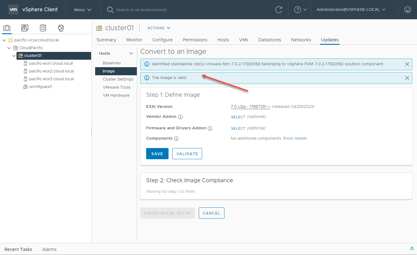 Image validated for vsphere lifecycle manager