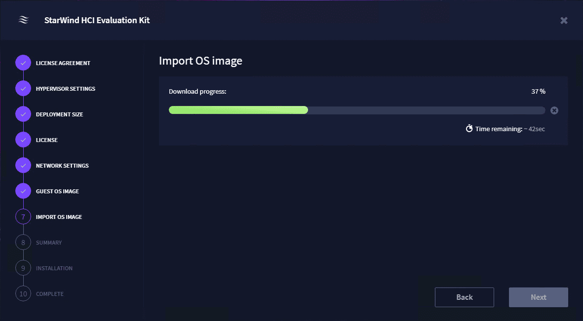 Importing the guest os