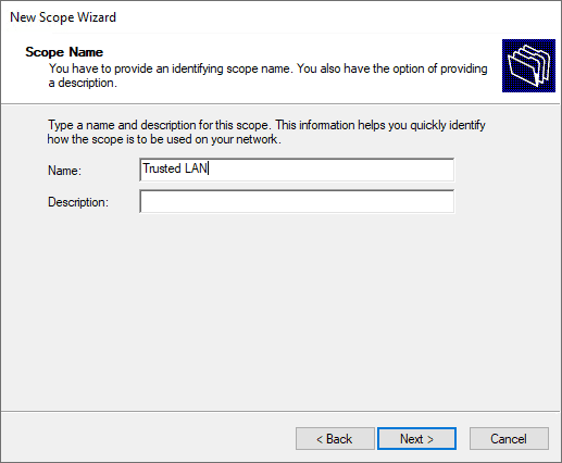Naming the dhcp scope in windows server