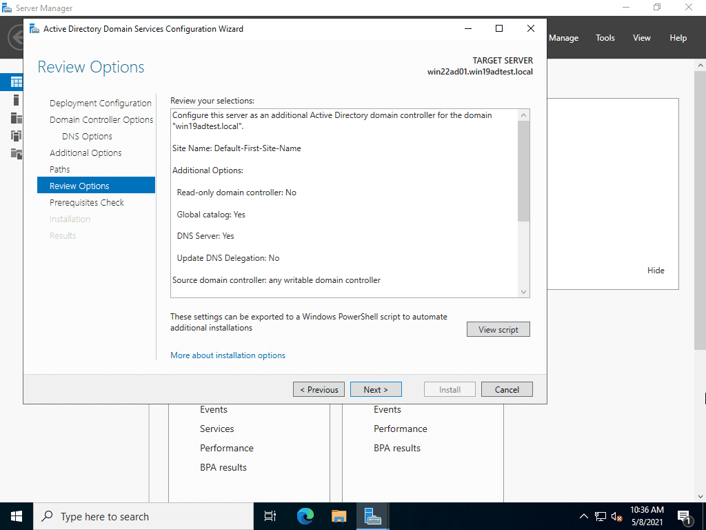 Reviewing the options of windows server 2022 domain controller promotion