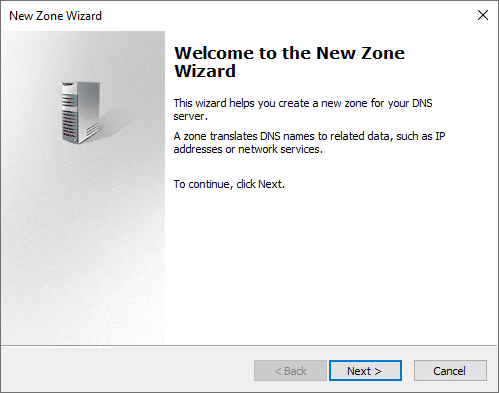 Starting the new zone wizard in the dns management console