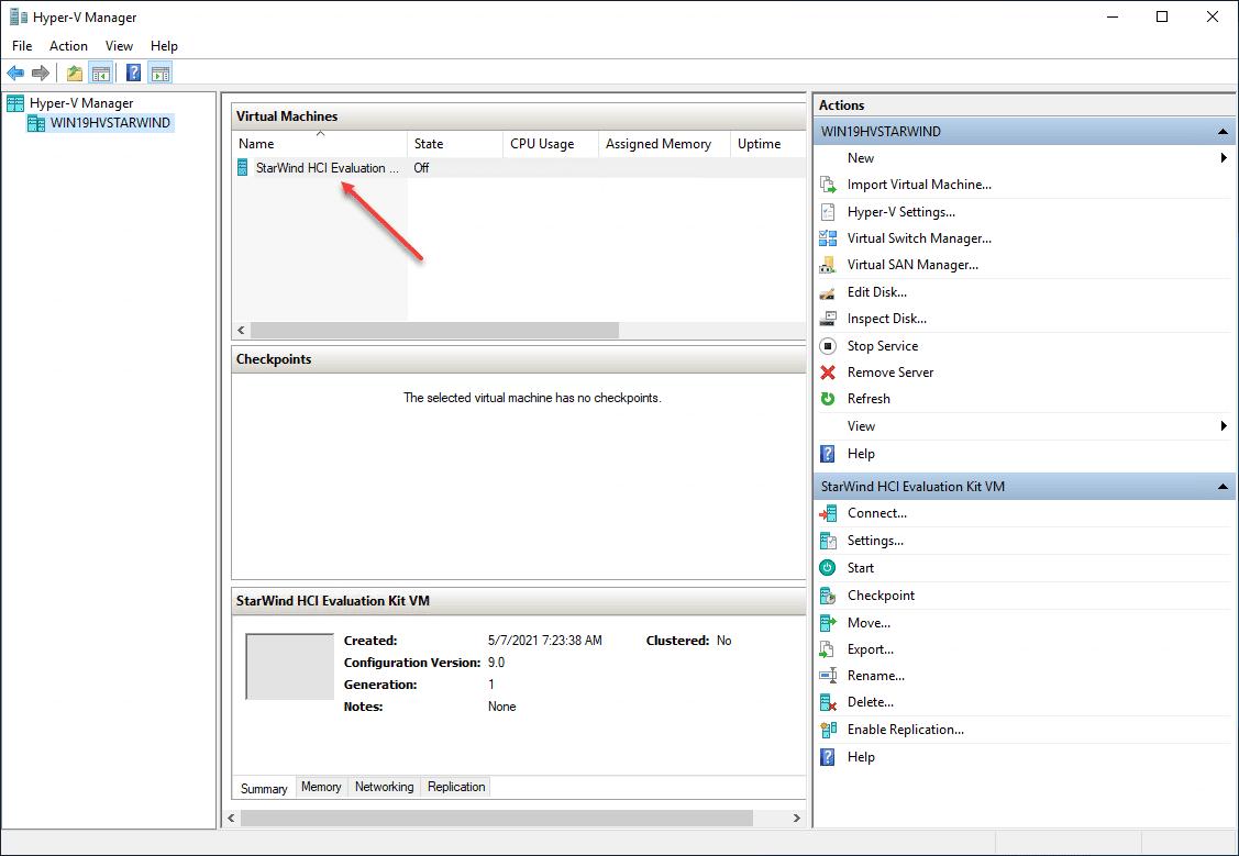 Starwind hci evaluation kit vm created