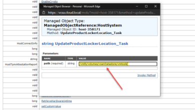 Using the managed object browser mob to update the productlocker location in esxi