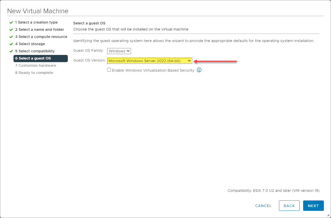 Vmware vsphere 7.0 update 2 contains windows server 2022 as a guest os version