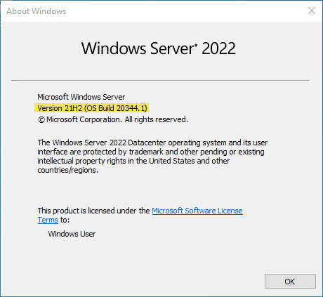 Windows server 2022 vnext preview 20344 installed and ready