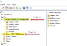 Windows server dhcp vlan scopes configured allocating ip addresses