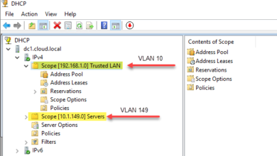 Windows server dhcp vlan scopes configured allocating ip addresses