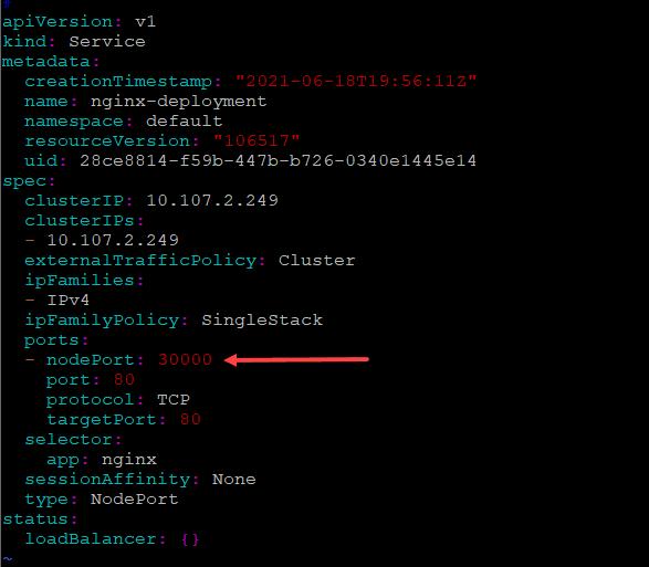 A node port configuration on a kubernetes service