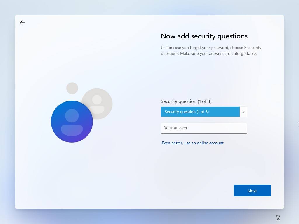 Beginning the security questions for windows 11