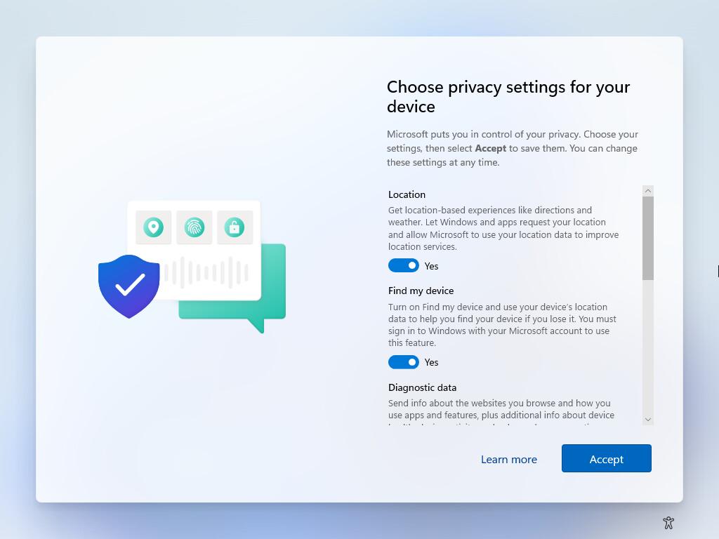 Choose privacy settings in windows 11