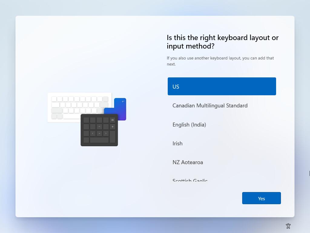 Select the windows 11 keyboard layout