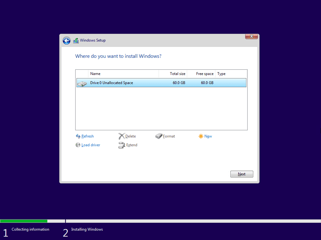 Select where you want to install windows 11