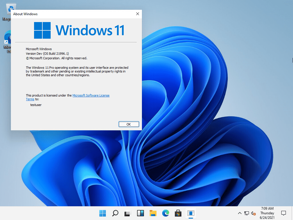 Viewing the windows 11 version