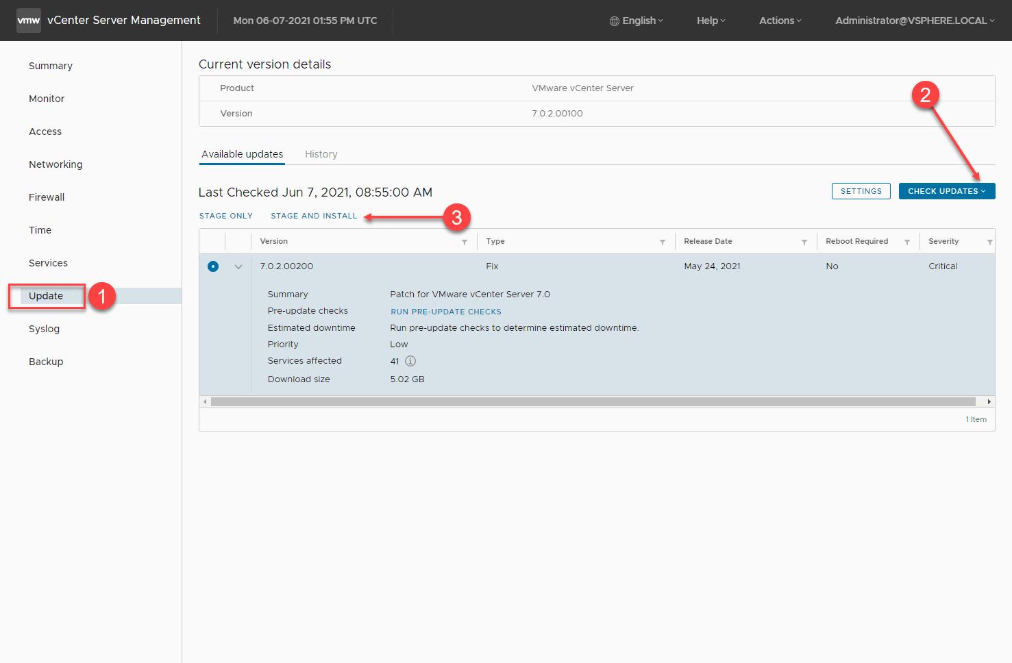 Applying the vcsa cve 2021 21985 patch using the vami interface