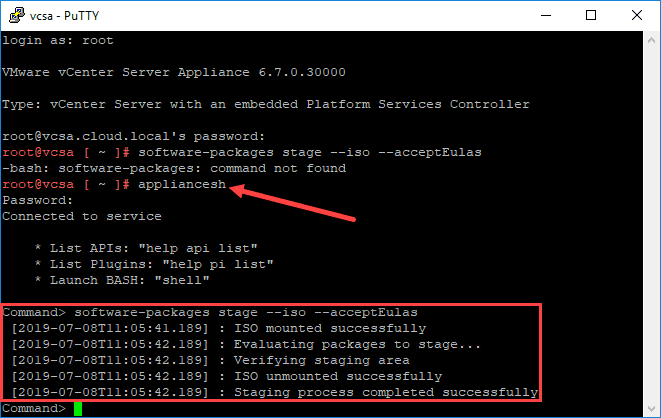 Applying vcsa patch using the iso downloaded from vmware