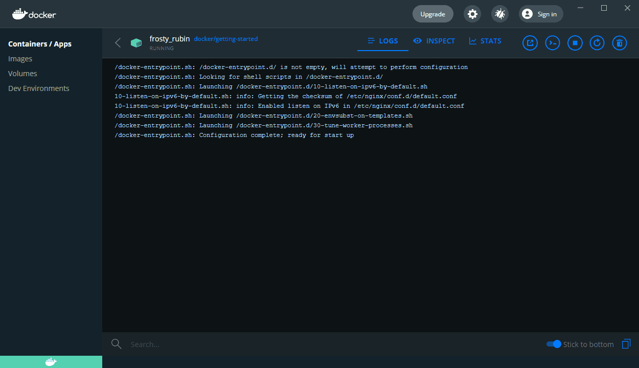 Docker image pulled down and running