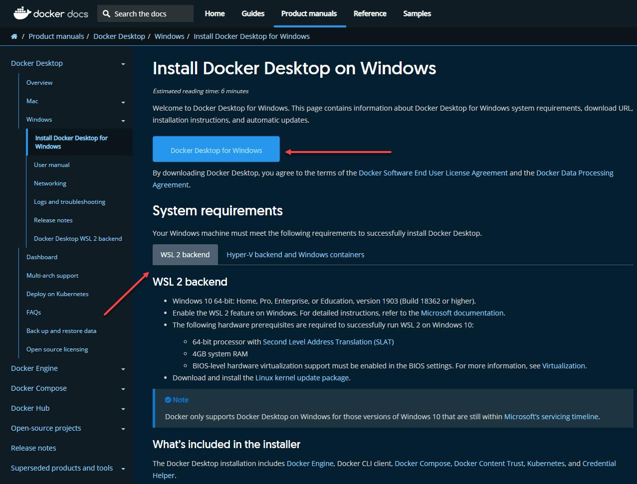 Downloading docker desktop for windows