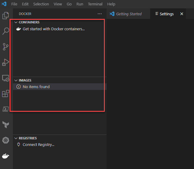 No containers or images displaying as of yet in visual studio code