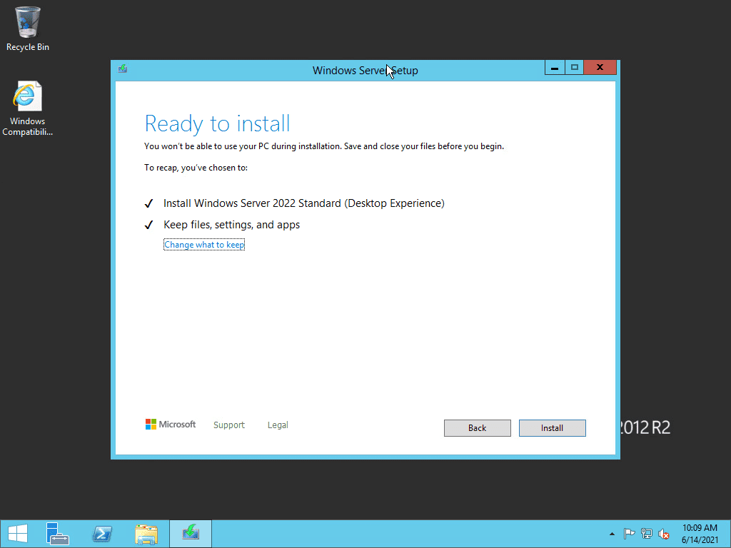 Ready to begin the upgrade to windows server 2022 from windows server 2012 r2