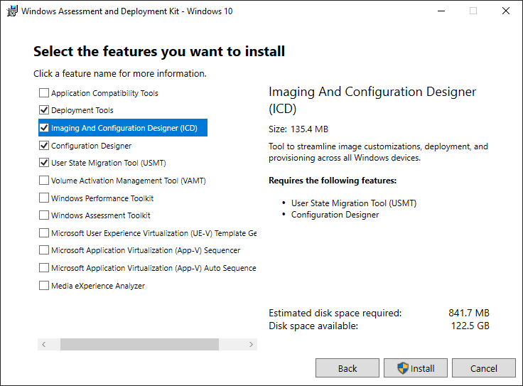 Select the features you want to install in the windows server 2022 adk