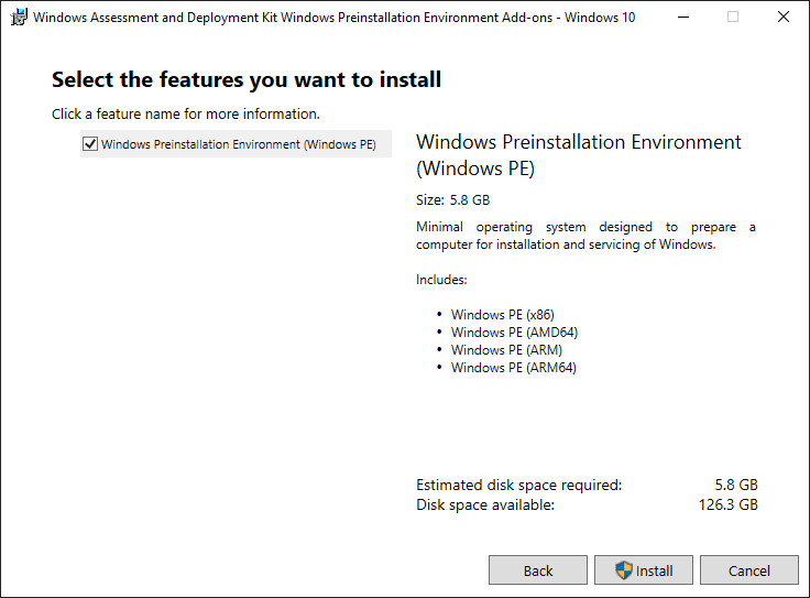 Select the features you want to install