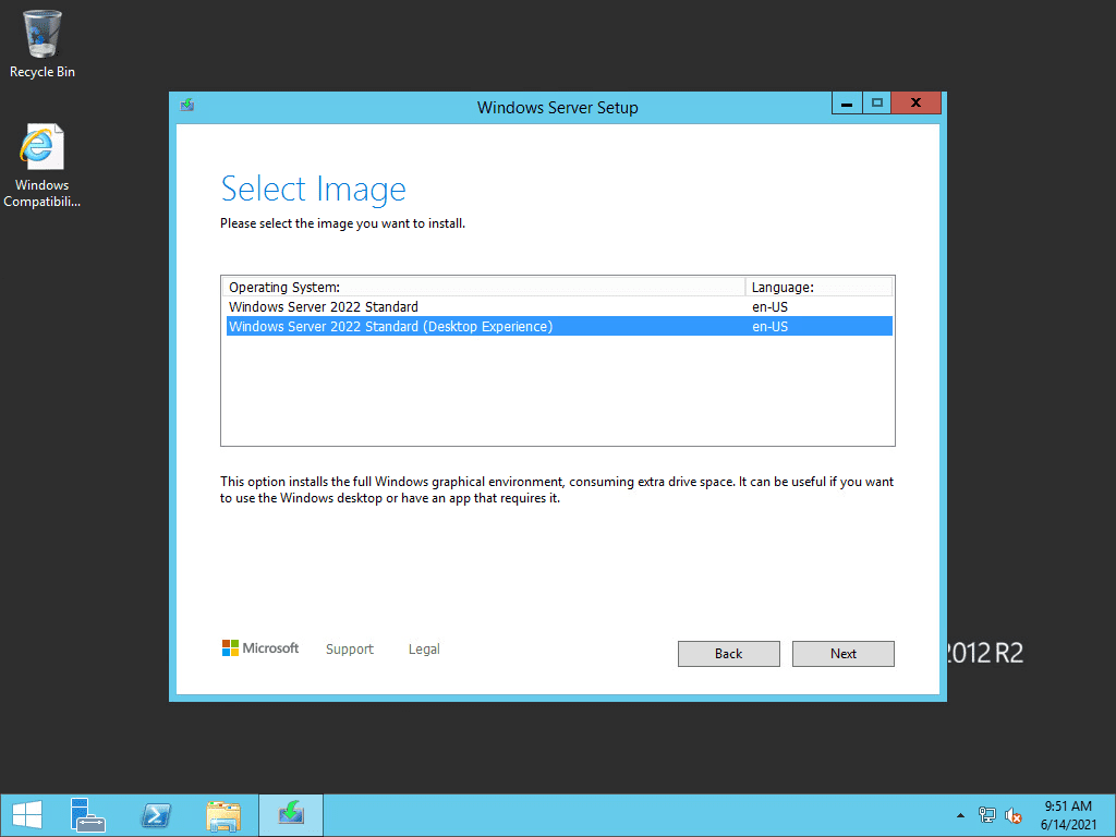 Select the windows server 2022 image you want to install