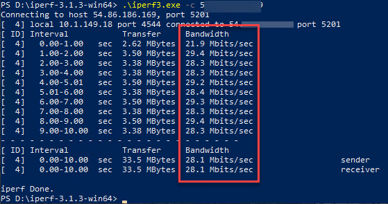 Testing iperf from a windows client