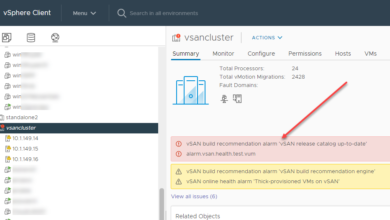 Vsan build recommendation alarm vsan release catalog up to date