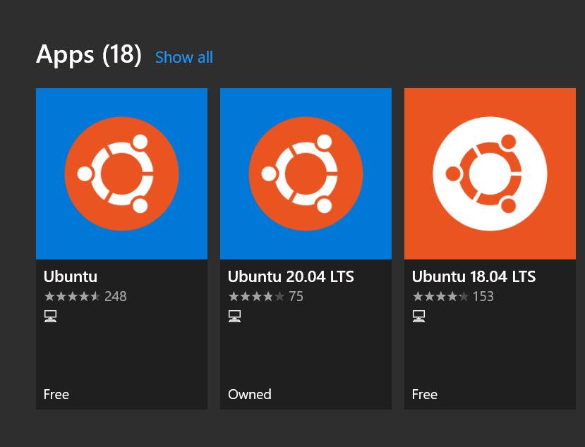 Viewing the ubuntu apps in microsoft store