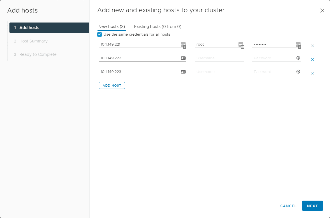 Add the hosts to the vSAN cluster