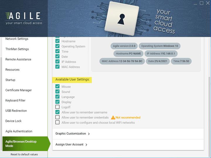 Additional configurable settings for end users using Agile