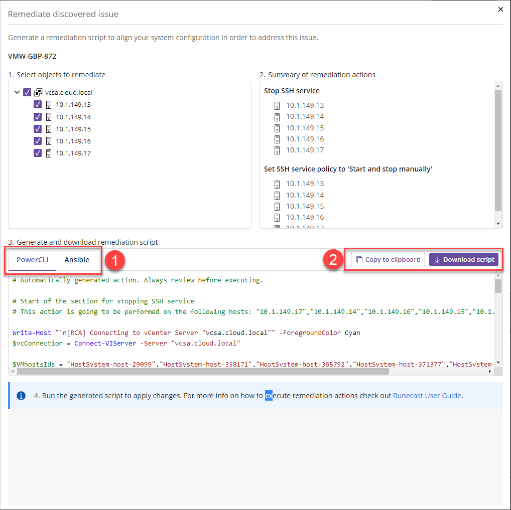 Choose the script type and if you want to copy or download the script
